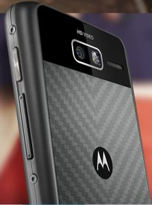 The back of the RAZR I with Kevlar showing the M logo and the Camera
