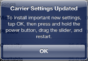 carrier settings screen indicating an update