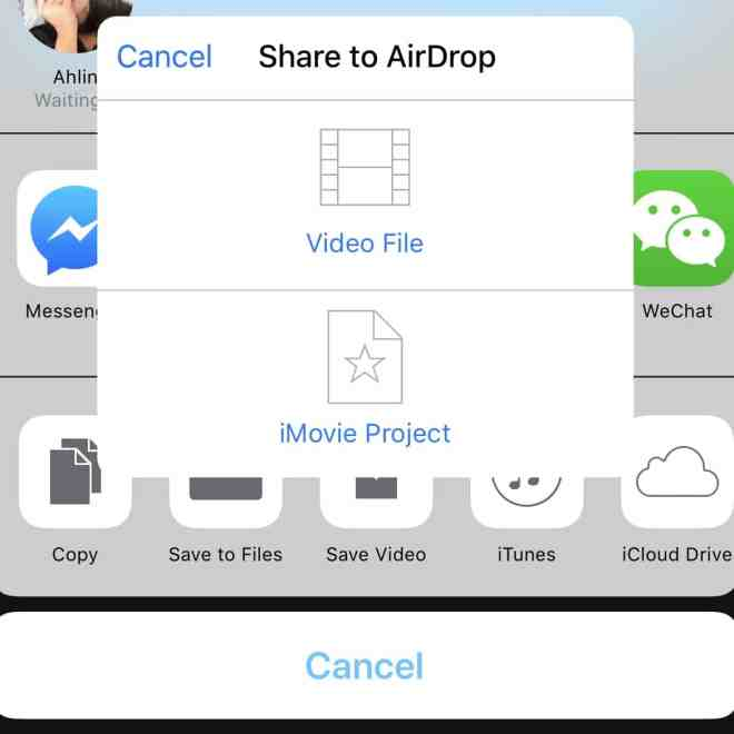 Transferring iMovie files through AirDrop