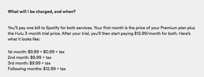 Spotify and Hulu prices