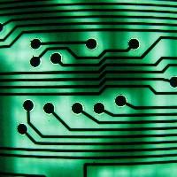 Green circuit board close-up (Peter Shanks)
