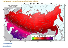 AgroAtlas example: Mean total solar radiation