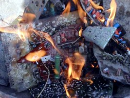E-waste being incinerated (EMPA)