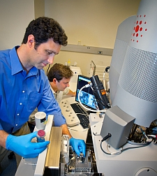 Andrew Minor, foreground, and Peter Hosemann (Lawrence Berkeley National Lab)