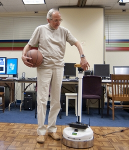 Zygmunt Pizlo and the robot Capek (Purdue Research Foundation)