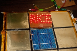 LEDs spell out RICE, powered by a spray-painted lithium-ion battery (Jeff Fitlow, Rice University)