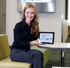 Morgan Moe with StrokeLink app (Riley Brandt, University of Calgary)