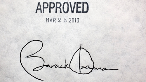 Presidential signature on the Affordable Care Act