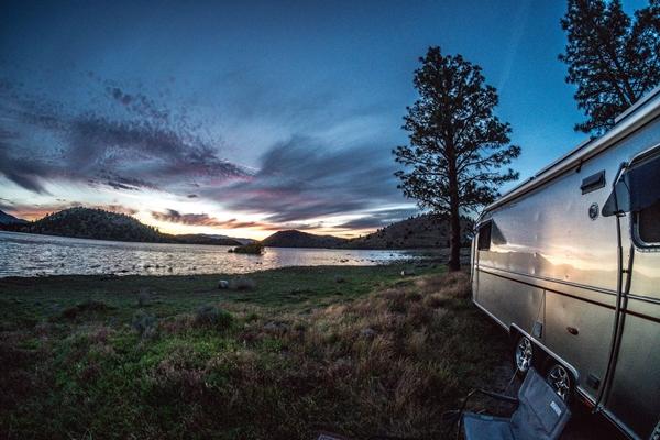 Rec vehicle by a lake