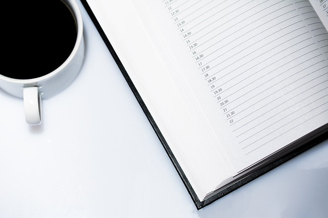 Coffee and calendar book