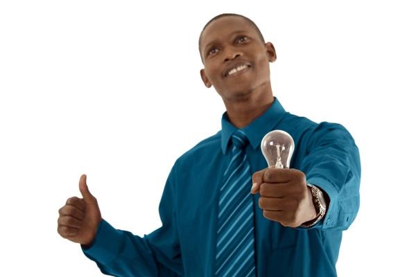 Man with light bulb