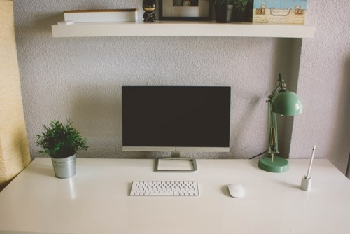 Desktop monitor and keyboard