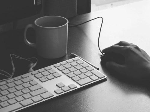 Keyboard, coffee