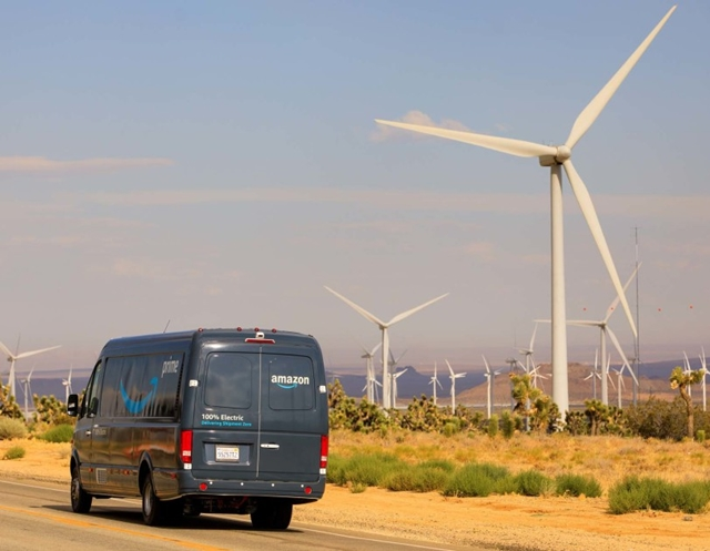 Amazon van at wind farm
