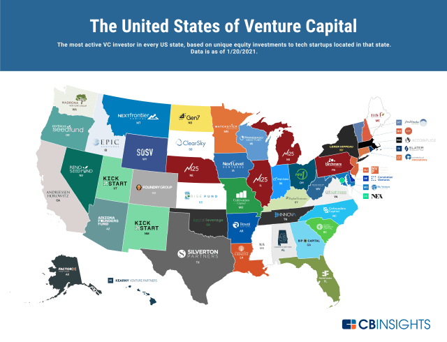 Venture investors in each state
