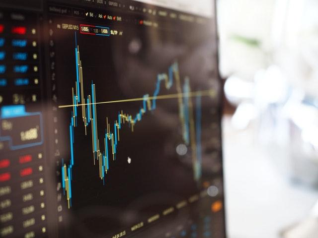 Financial chart on screen