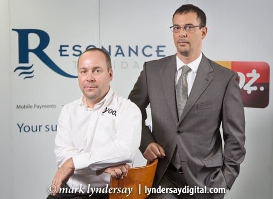 Eddy Devisse (left), General Manager of Resonance Caribbean and Lorcan Camps, CEO of the company.  Photograph by Mark Lyndersay.