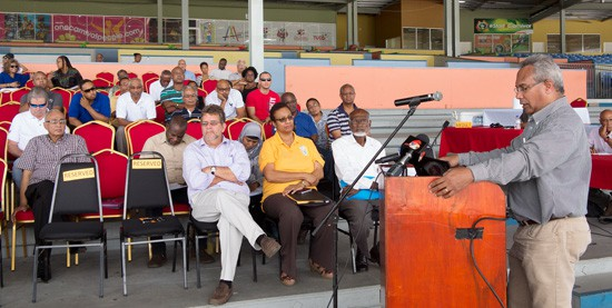 Transport engineer Dr Rae Furlonge (far right) delivers his report to Carnival stakeholders at the Grandstand at the Queen's Park Savannah last Saturday. Photograph by Mark Lyndersay.