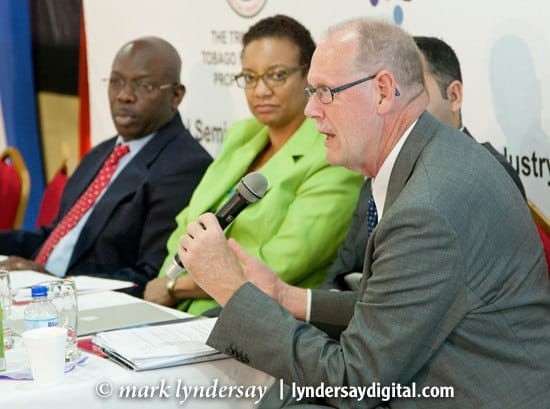 Jorgen Blomqvist, Danish copyright expert (right), with Dr Lincoln Douglas, (left) and Ms Allison Demas, Chairman, NCC (centre) at the National Seminar on Copyright in the Carnival Industry hosted by the NCC last week at the Grandstand, Queen's Park Savannah. Photograph by Mark Lyndersay.