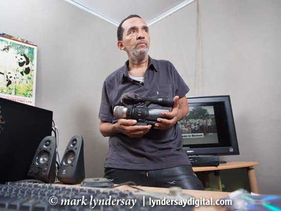 Jeffrey Alleyne in the Valleywood editing room in Petit Valley. Photograph by Mark Lyndersay.