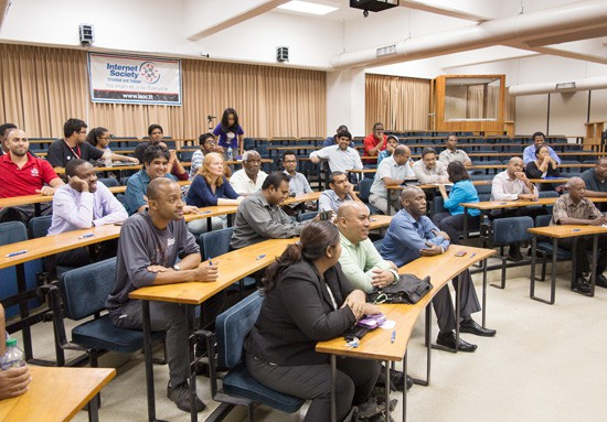 Part of the audience at the start of last week's discussion on Net Neutrality. Photograph by Mark Lyndersay.