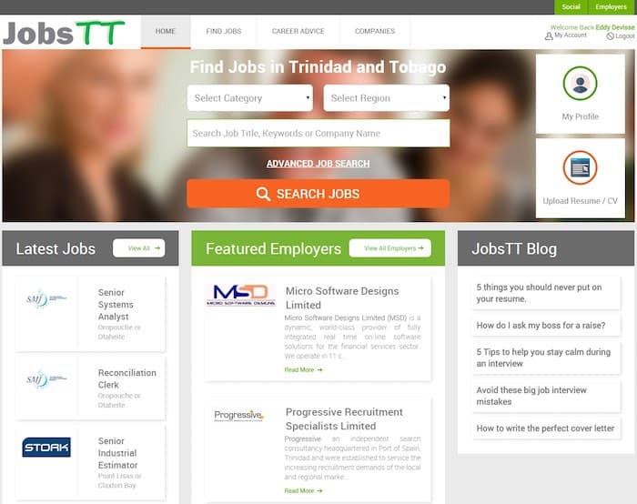The JobsTT website.