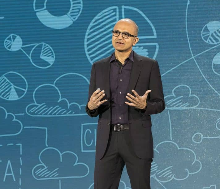 Satya Nadella speaks at Convergence 2015. Photo courtesy Microsoft.