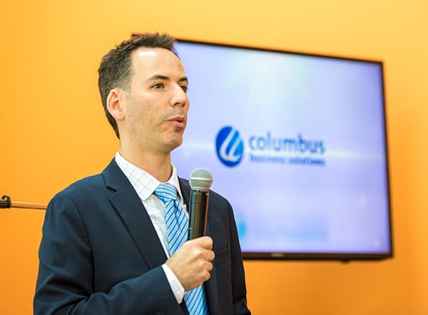 Mr. Joshua Geist, CEO of Geminare, engaging the attendees on 'Understanding the business impact the Cloud has on the Disaster Recovery program and how to leverage DRaaS. Photo courtesy Columbus Business Solutions.
