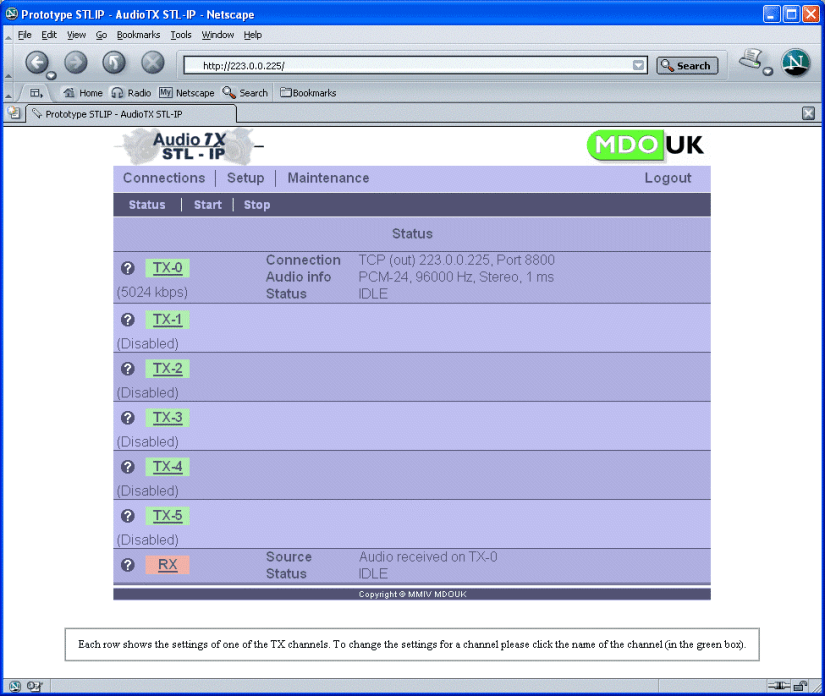 AudioTX STP-IP interface web