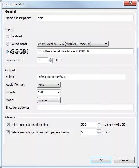 mMairlist Audio Logger configuration