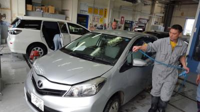 洗車の様子(男子)