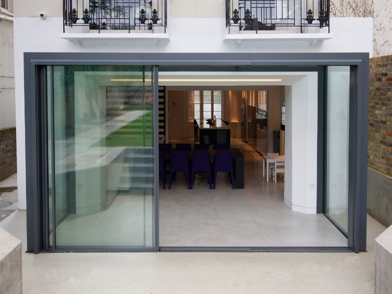 a glass extension to a house in London
