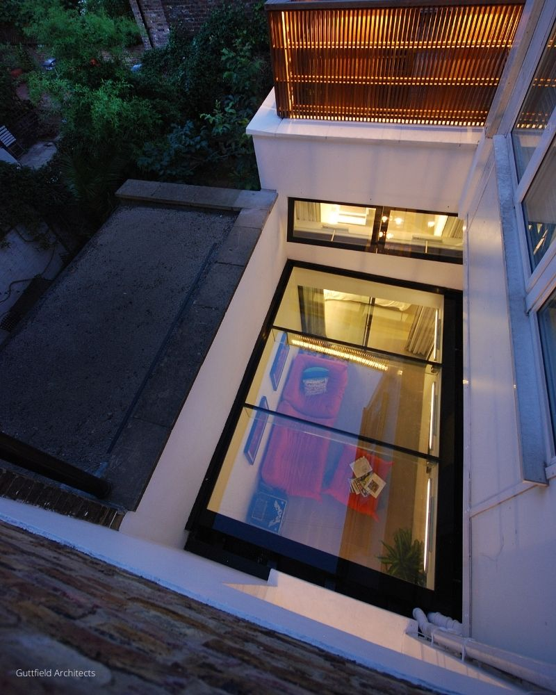 glass roof over basement extension