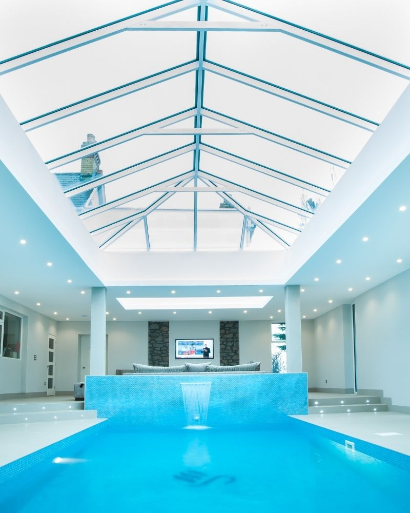 a lantern rooflight over a swimming pool