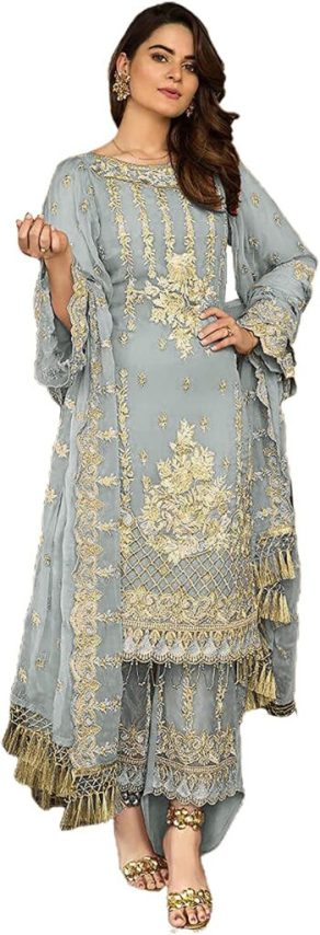 Miss Ethnik Women's Grey Faux Georgette Semi Stitched Top With Unstitched Santoon Bottom and Nazmin Dupatta Embroidered Flared Top Dress Material (Pakistani Salwar Suit) (ME-1047) (Grey1), Eid dresses 2021, eid dresses for women, eid dresses 2021 for girl; eid dresses 2021 pakistan; pakistani eid dresses 2021; eid special dress 2021; eid special dress 2020 for girl; eid dress collection 2021; eid dresses online shopping; eid dresses 2020 for girl;