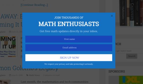 Pop-up on Math Blog