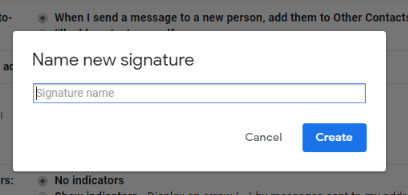 name the new email signature gmail