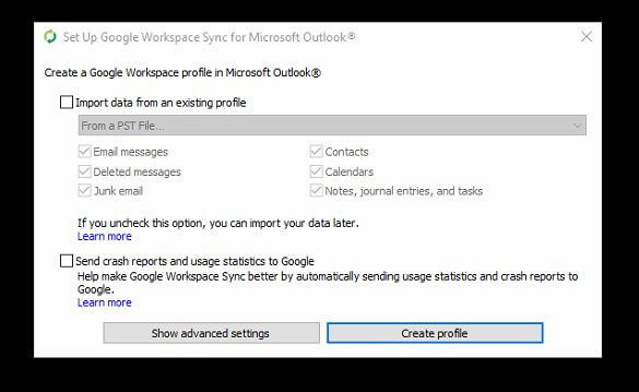create profile google workspace sync