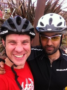Me and @samscam after completing the Manchester to Blackpool ride