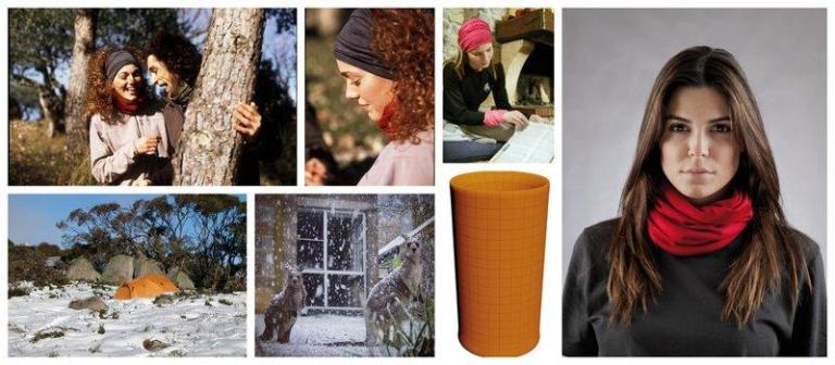 Collage showing people wearing the Wool Buff® in cold weather