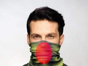 Photoshop added layer to studio photo. Man wearing a Original Buff® as face mask. The red ellipse in front of nose and mouth symbolises the danger from breeding germs credit - 2016 Edward Omagbemi / copyright Original Buff S.A