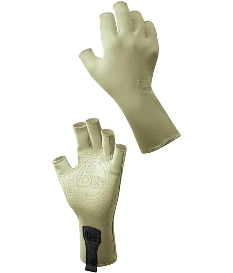 """A Studio image of the Water Glove Design """"Light Sage"""". It shows the palm and back side as a montage. Source: buff.eu"""