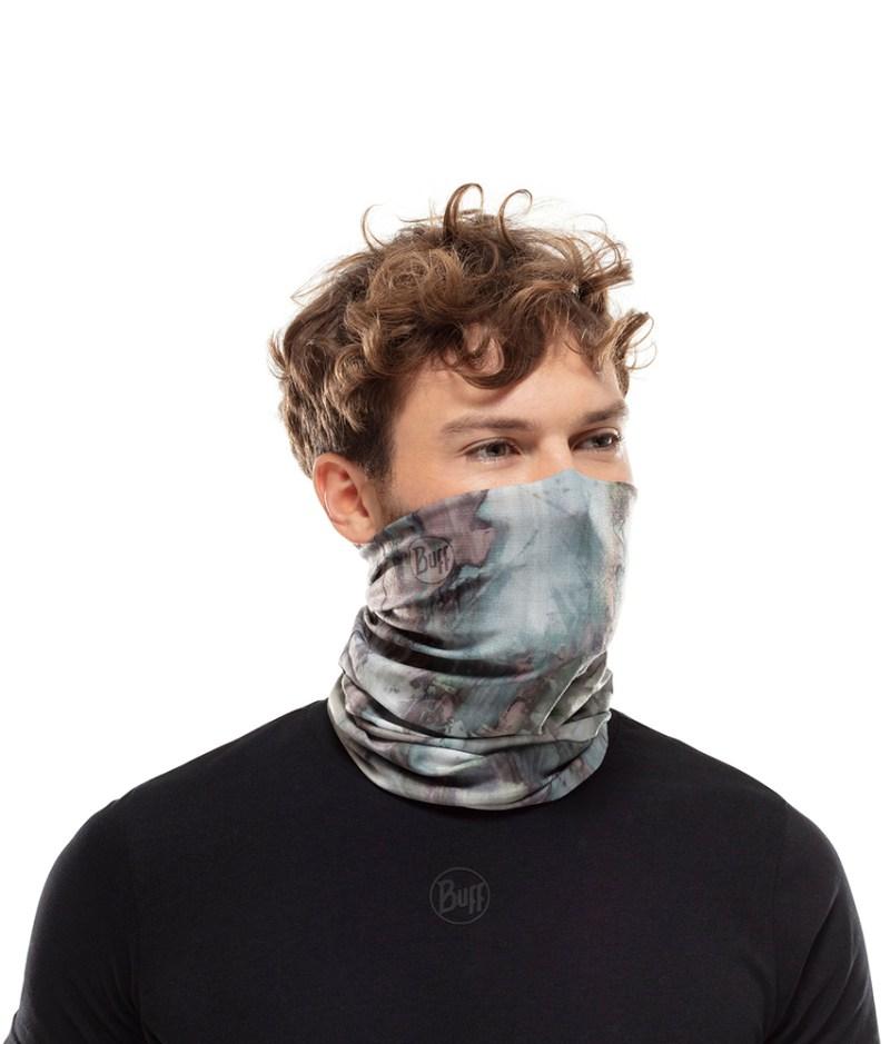"Studio photo of a Man wearing the BUFF® Coolnet UV+ Design ""Ground Multi"". Source: buff.eu"