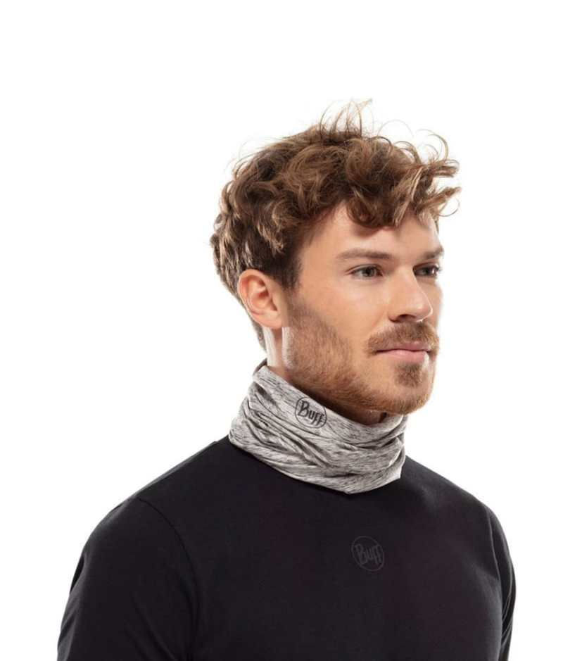"Studio photo of a Man wearing the BUFF® Coolnet UV+ Design ""Silver Grey HTR"" as a neck cooler. Source: buff.eu"