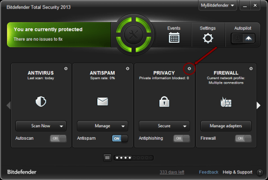 Bitdefender - Change Privacy Control Settings