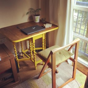 Yellow desk (on a tidy day)