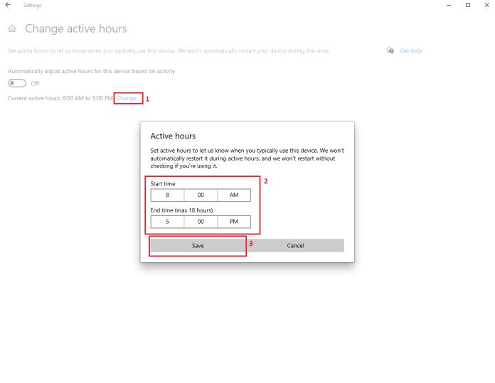 Change updates time in windows 10