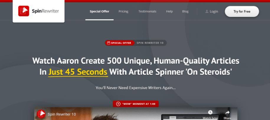 Spin Rewriter - Best Article Paraphrasing Tool