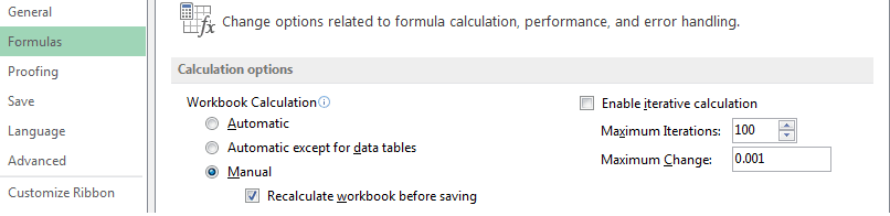 Repair Corrupted Excel file using Formula setting