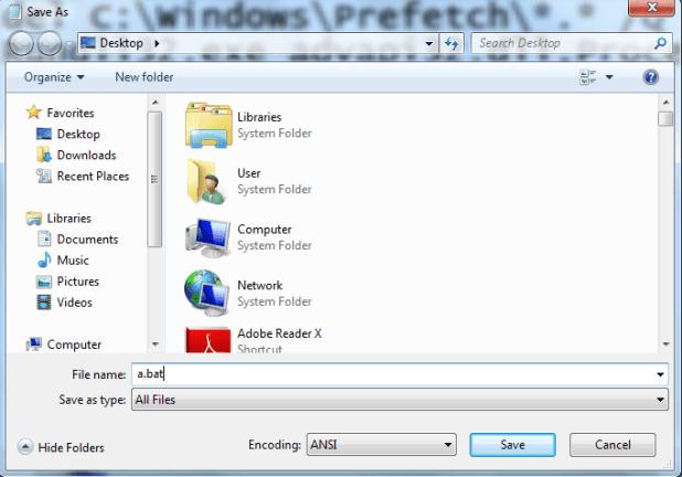Create batch file